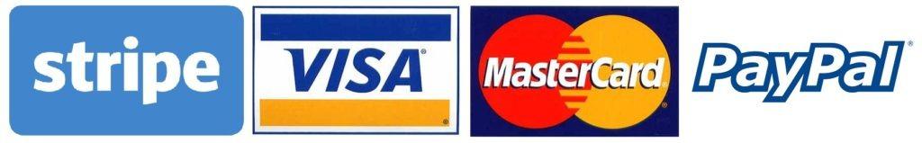 image of Stripe visa mastercard paypal logos